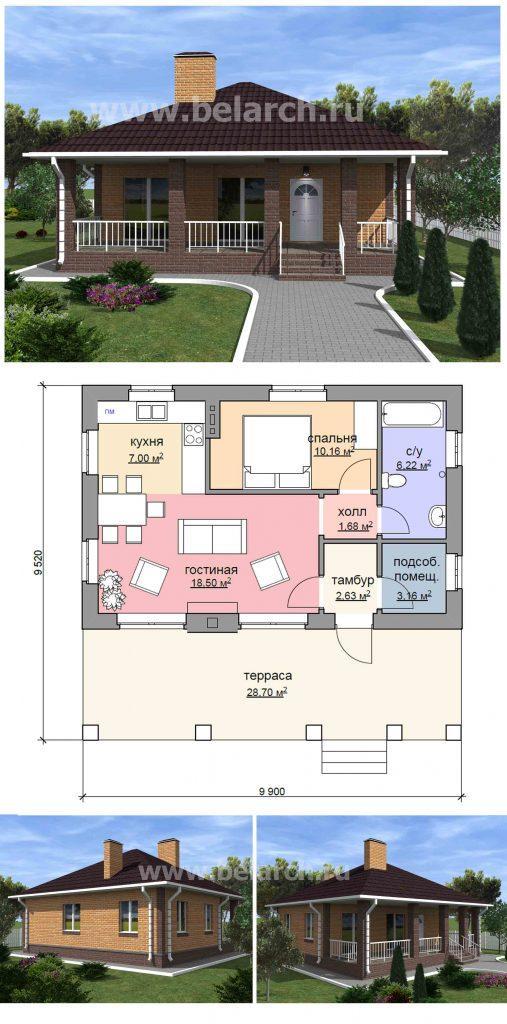 Проект дома 9.5 на 10 метров с террасой