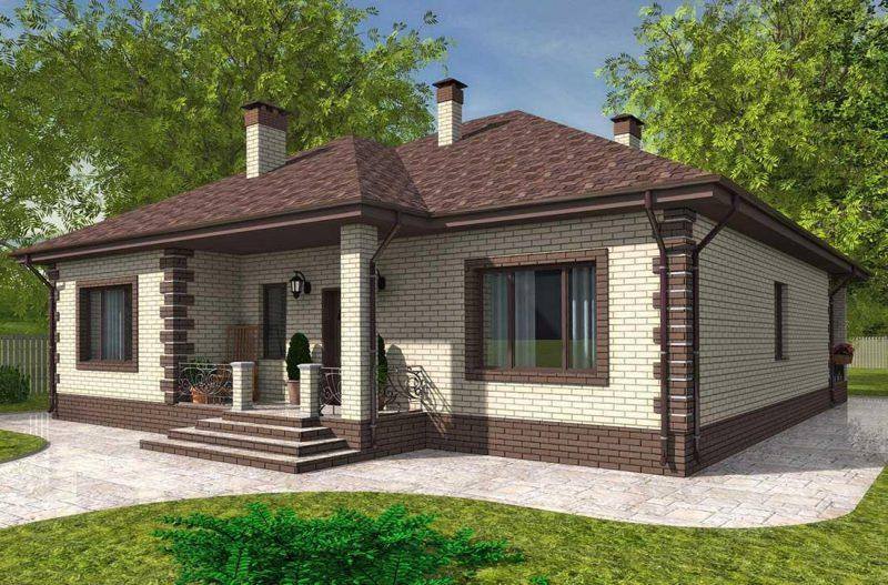 Проект дома до 150 кв.м. с тремя спальнями, гостиной и террасой