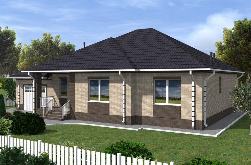План дома с тремя спальнями, гаражом и террасой до 180 м2