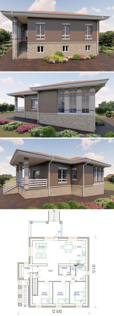 """Проект стильного жилого дома с тремя спальнями и гостиной """"Ховрино"""""""