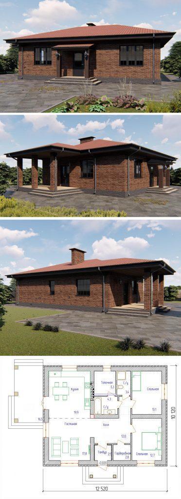 Проект небольшого дома с гостиной и двумя спальнями