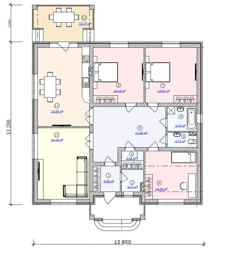 Готовый план частного дома 13 на 14 метров до 150 кв.м.