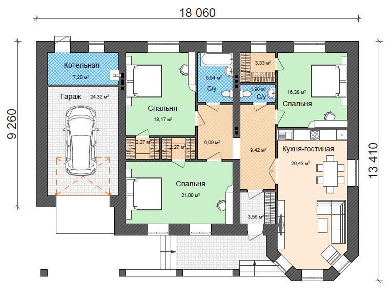 Готовый проект дома с эркером, большой гостиной и гаражом