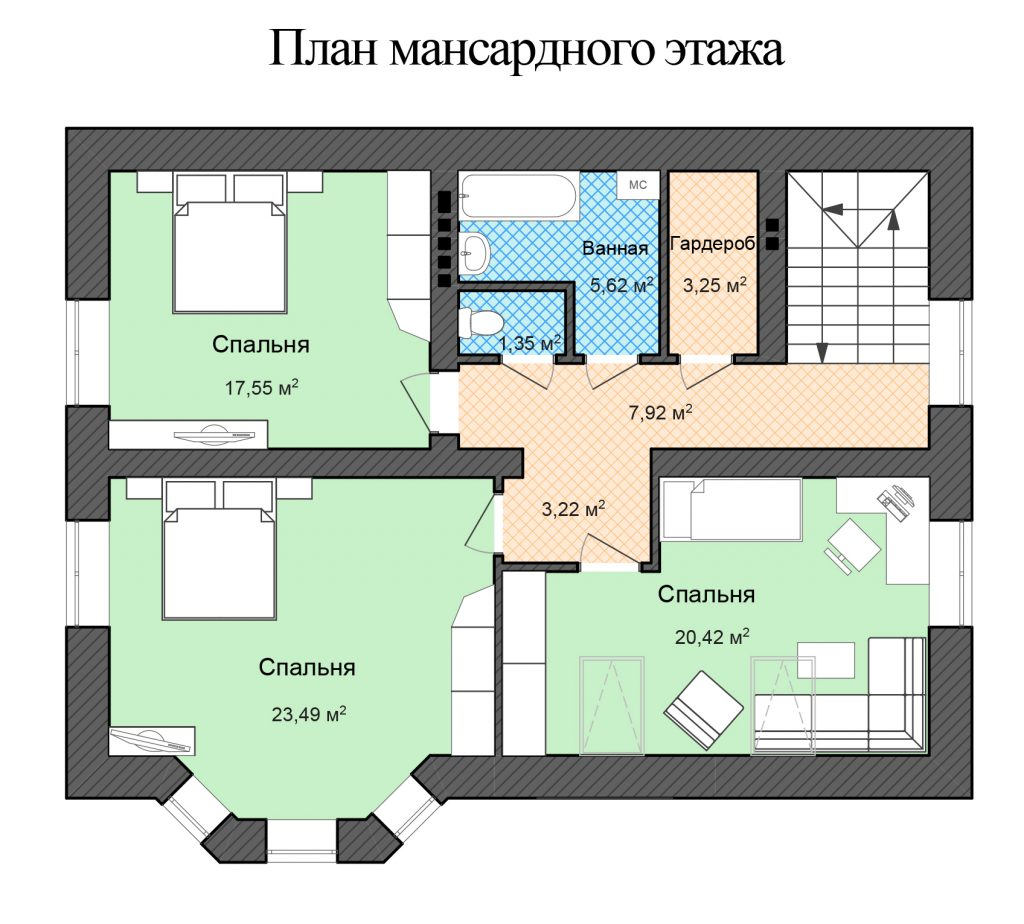 Готовый проект двухэтажного дома 120 кв.м. с открытой террасой