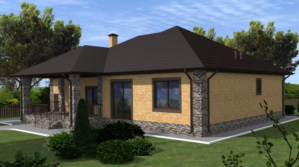 """Готовый проект загородного дома с 3 спальнями и гостиной 170 кв.м. """"Умный"""""""