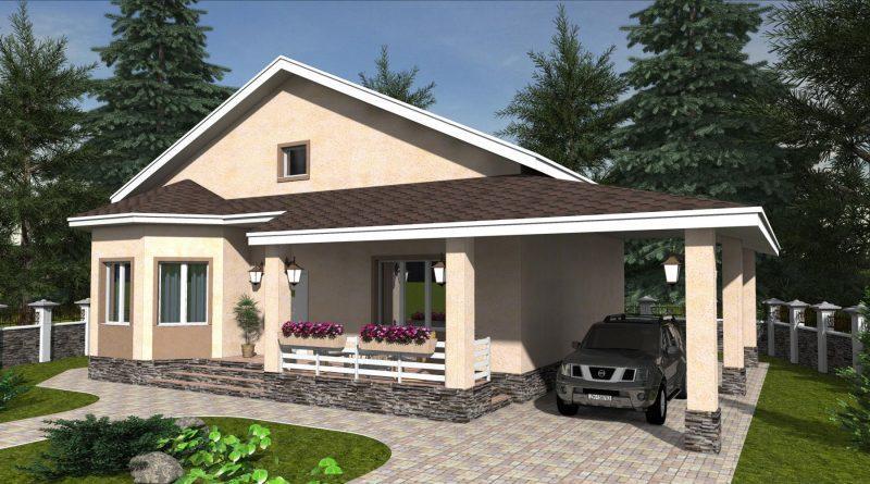 Проект одноэтажного дома с навесом для машины до 100 м2