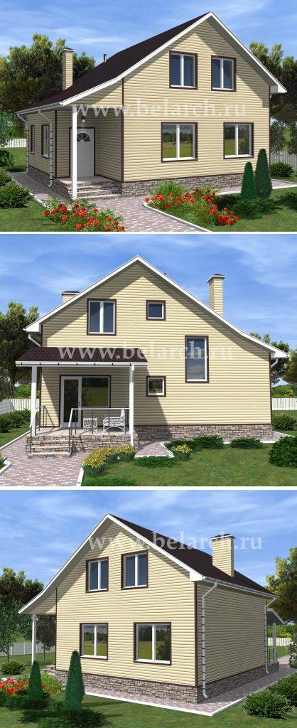 Готовый проект дома с мансардой из сайдинга 9 на 10
