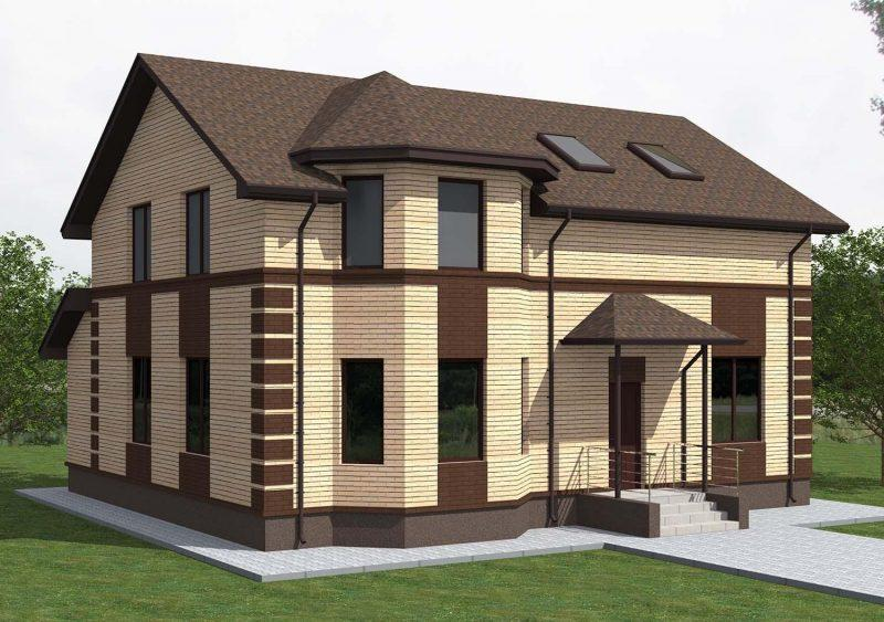 Проект двухэтажного кирпичного дома 180 м2