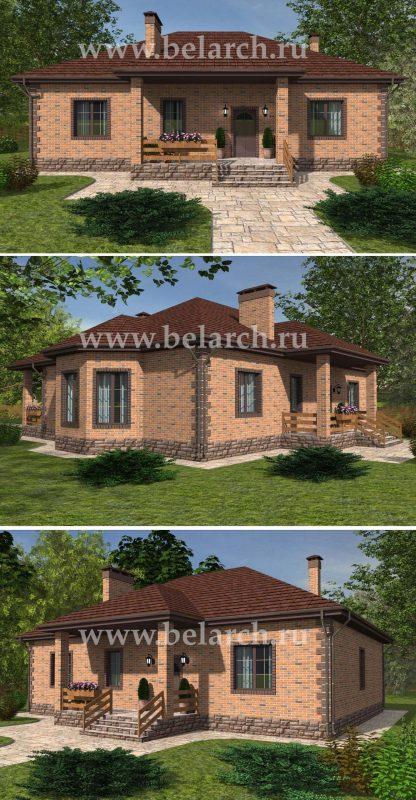 Проект одноэтажного дома с тремя спальнями и кухней-гостиной