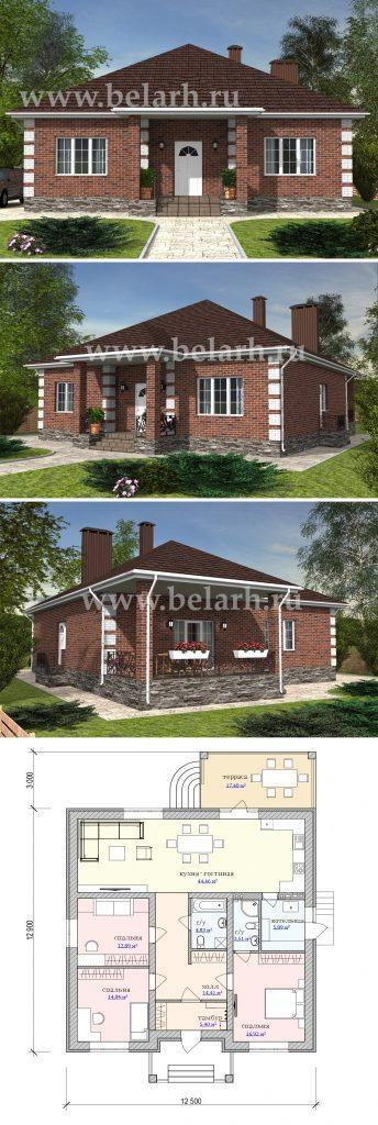 Проект небольшого дома из красного кирпича для БИКа