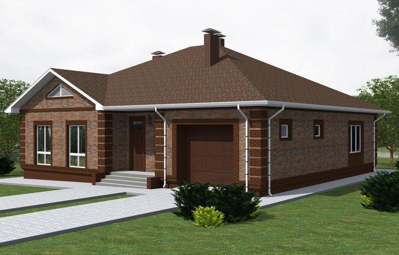 """Проект одноэтажного дома """"Баварская кладка"""" с гаражом"""