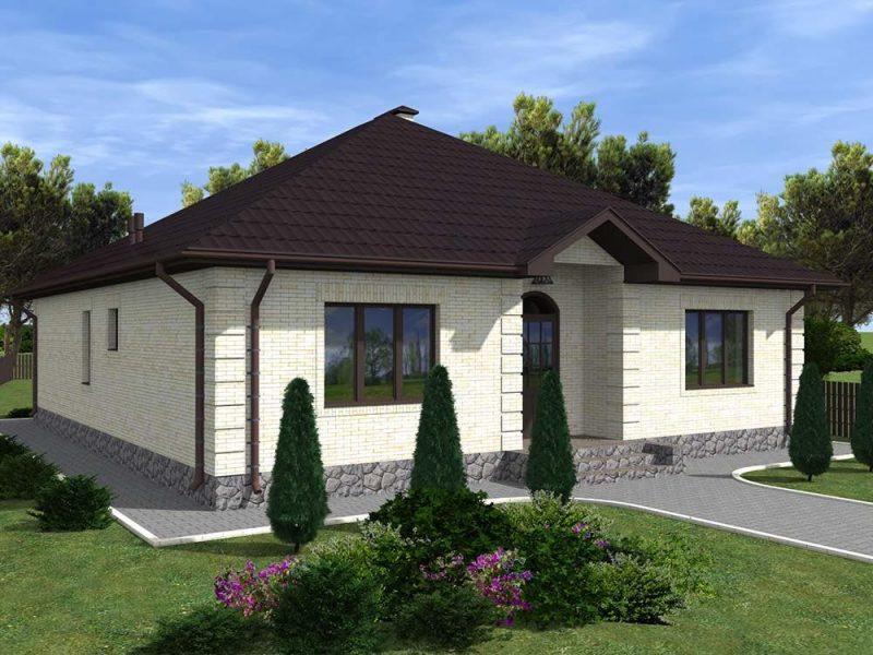 Проект одноэтажного дома 13 на 12 м с простым фасадом