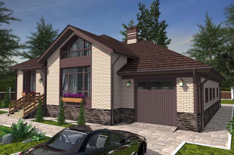 Проект дома с гаражом и верандой 170 м2 из газобетона