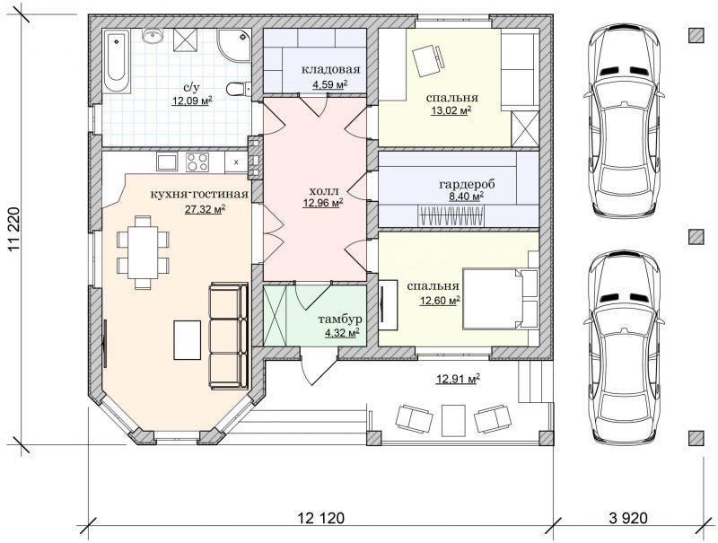 Проект одноэтажного дома с навесом для машины до 150 м2