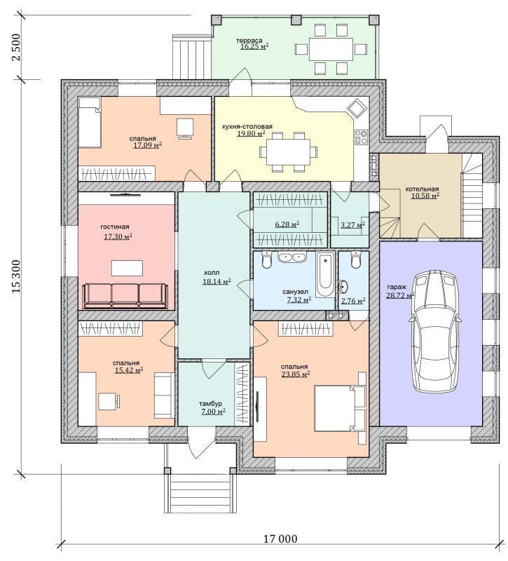 Проект дома с гаражом и верандой до 180 м2 из газобетона
