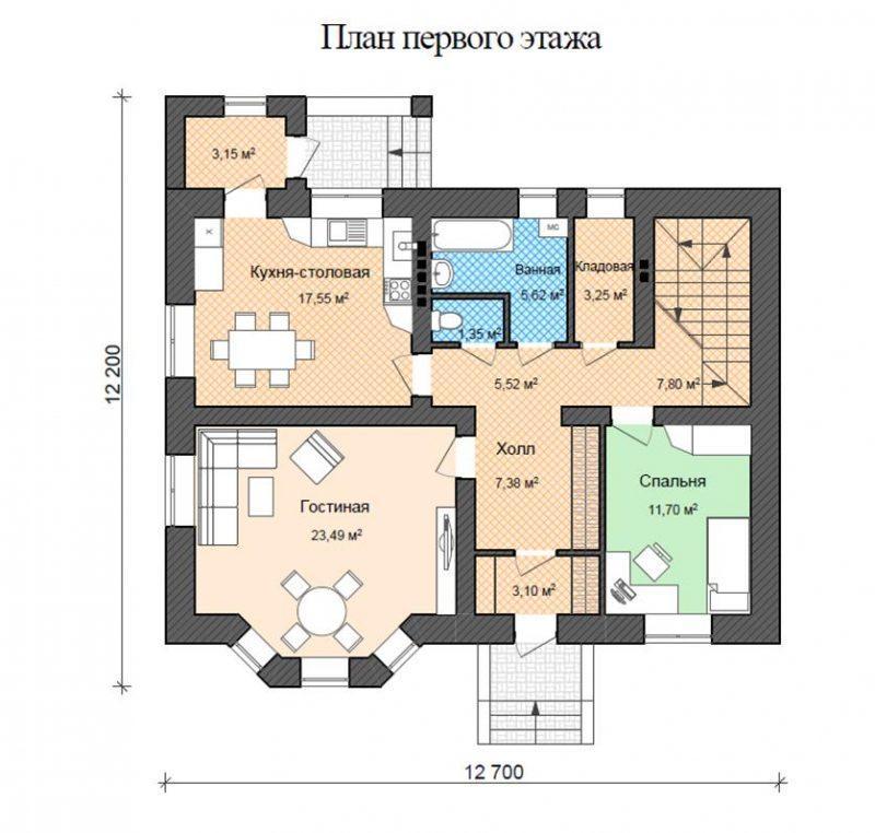 Проект двухэтажного кирпичного дома до 180 м2