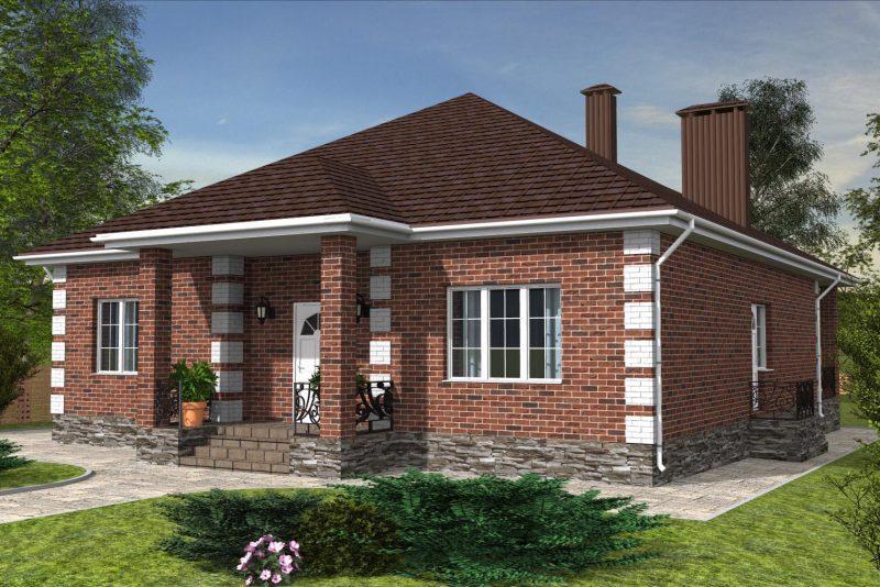 Проект небольшого дома из красного кирпича