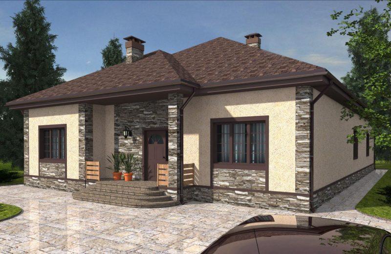 Проект дома три спальни, кухня-гостиная, терраса