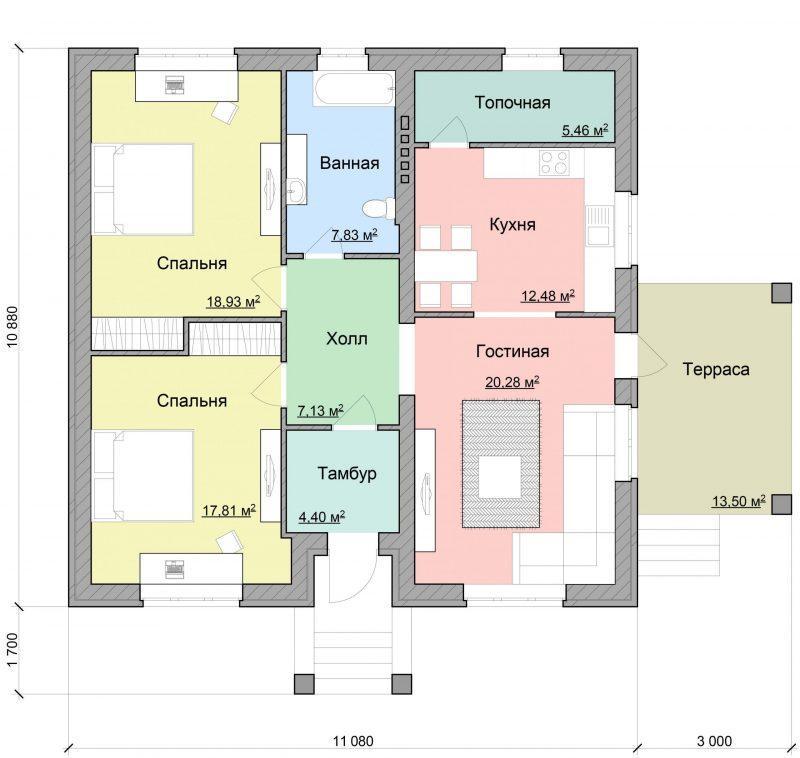 Проект одноэтажного дома с двумя спальнями до 100 кв.м.