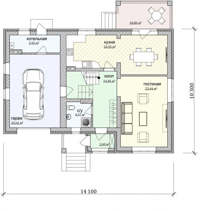 Проект дома с мансардой и большой кухней из газобетона