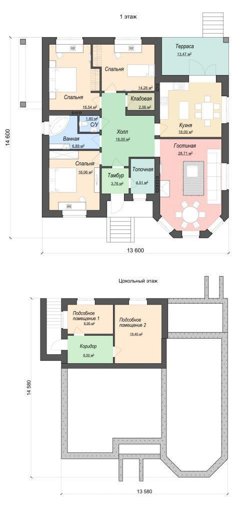 Проект одноэтажного дома с арочными окнами