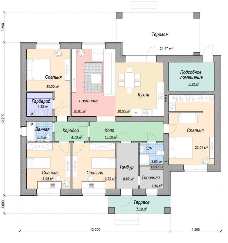 Проект дома с четырьмя спальнями 180 м2