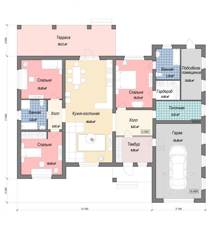 Проект большого одноэтажного дома с гаражом