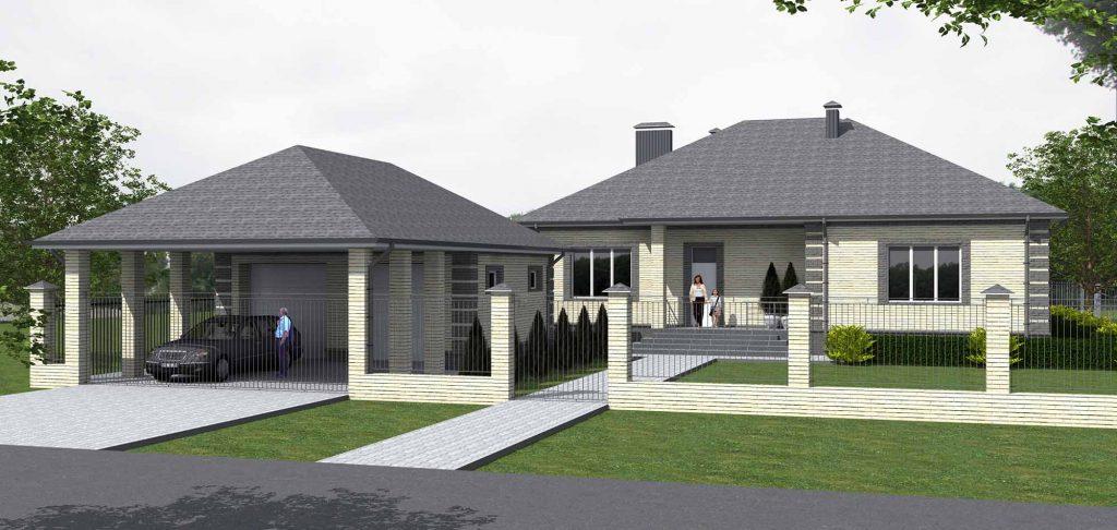 Проект дома с тремя спальнями, гостиной и кабинетом. Вид с навесом