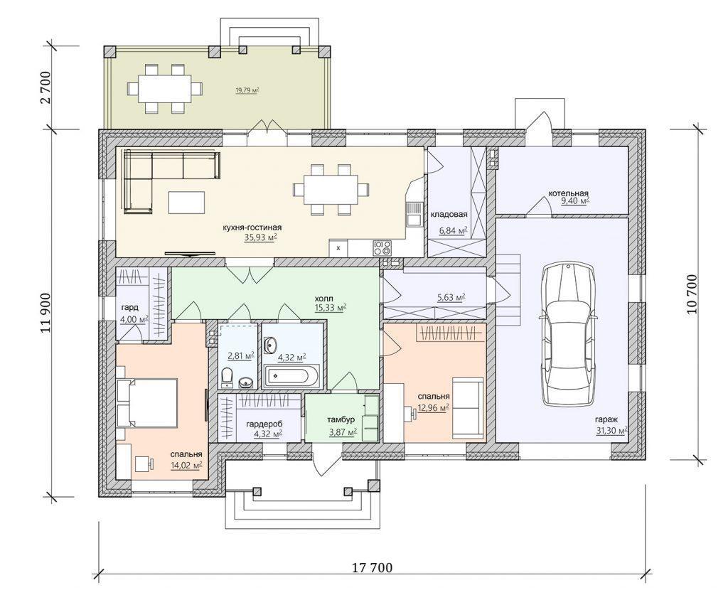 план одноэтажного прямоугольного дома
