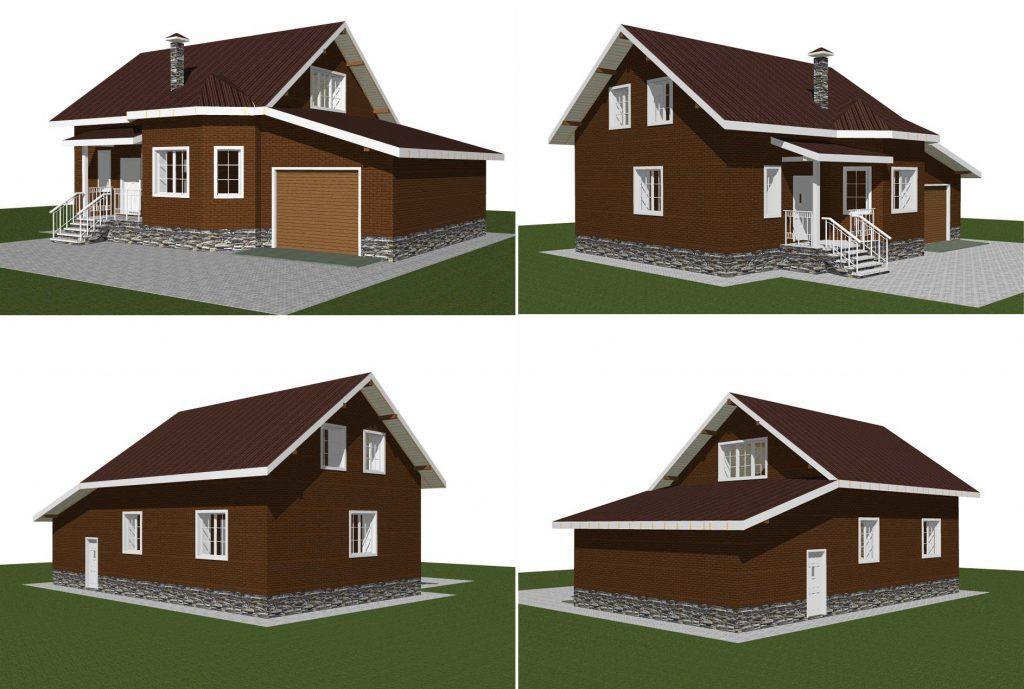 Проект дома с мансардой и гаражом в один этаж