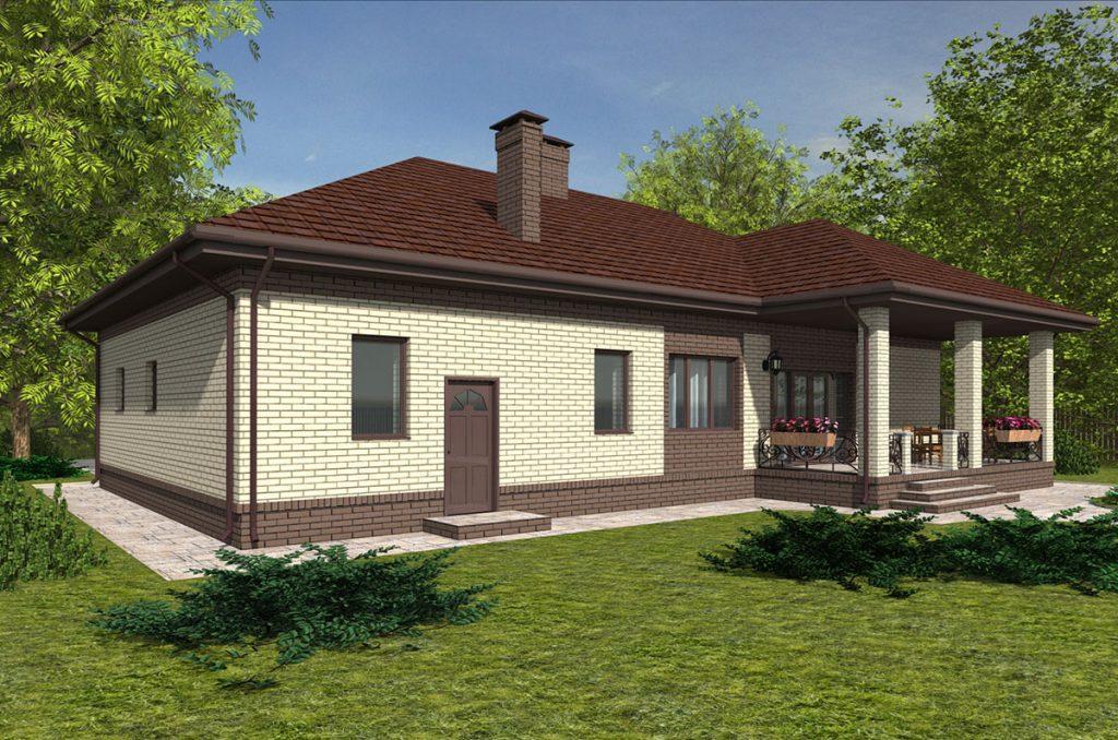 Проект прямоугольного 1 этажного дома до 160 кв.м.