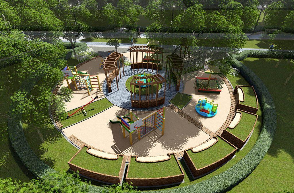 Проектное решение полукруглой детской площадки