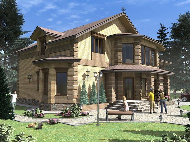 Проект двухэтажного большого дома с верандой