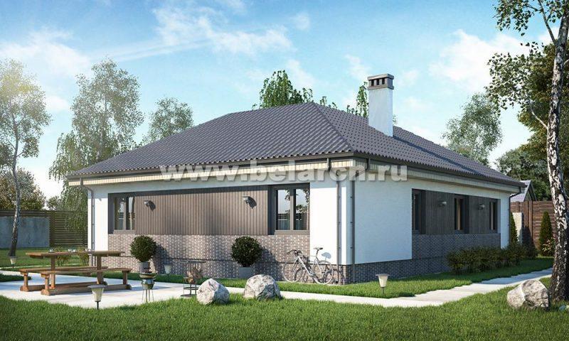 Проект одноэтажного дома буквой Г