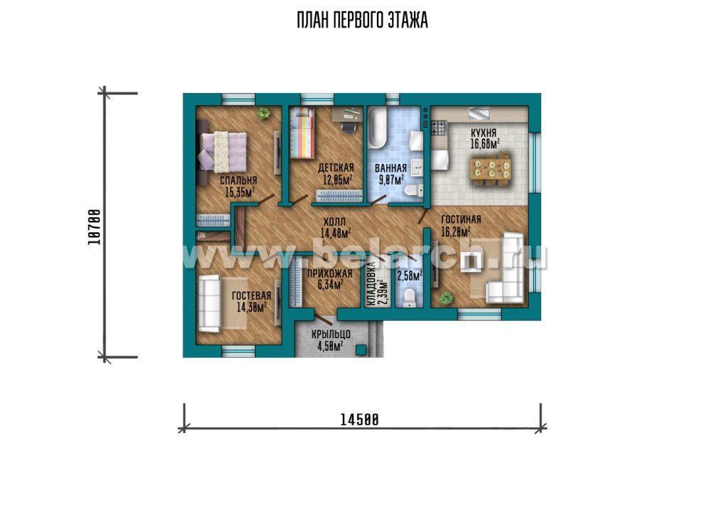 Проект дома один этаж 14 на 10 метров