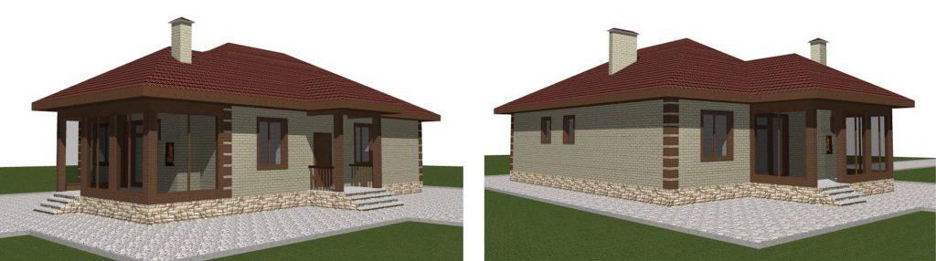 Проект одноэтажного дома с тремя спальнями и большой кухней