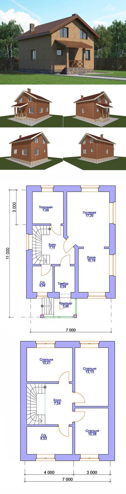 Проект дома с мансардой 7 на 11 метров