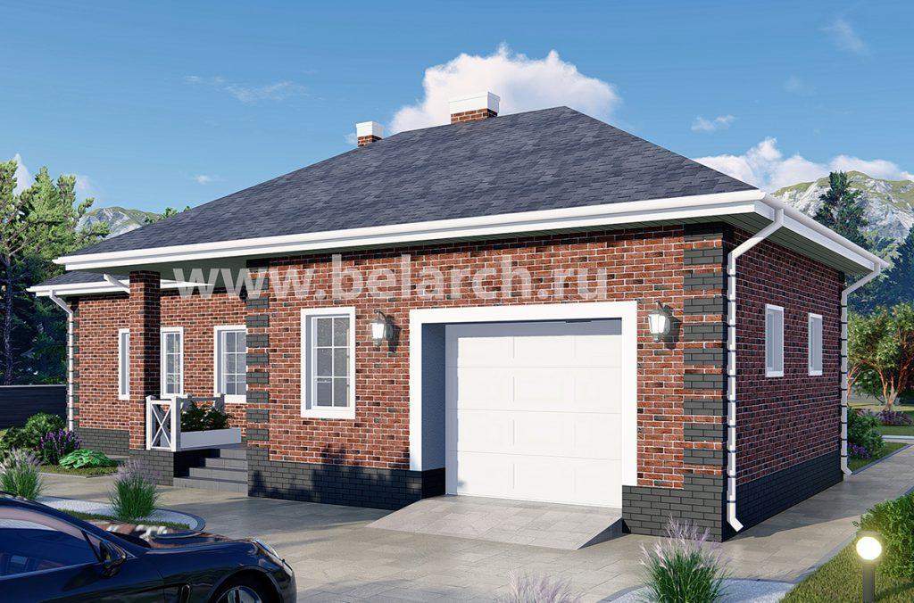 Проект дома с тремя спальнями, гаражом и гостиной