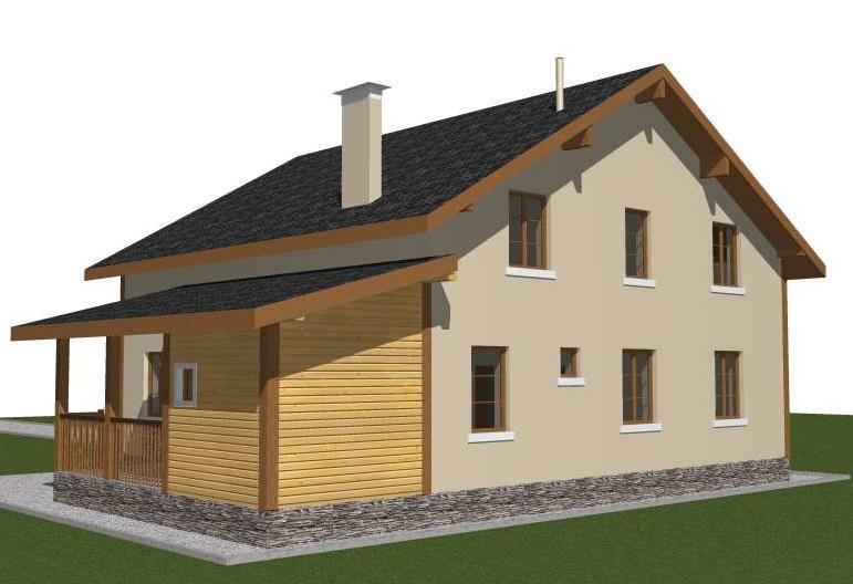 Проект дома 11 на 15 с мансардой с балконом