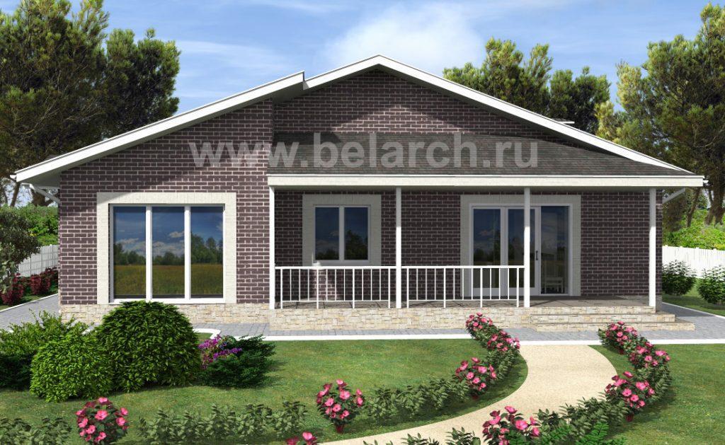 фасад одноэтажного дома с большими окнами