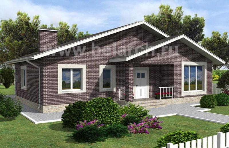 Проект одноэтажного дома с большими окнами