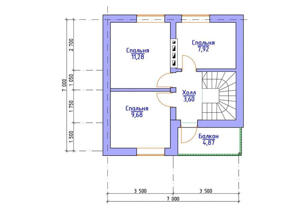 план дома с мансардой 9 на 7 метров