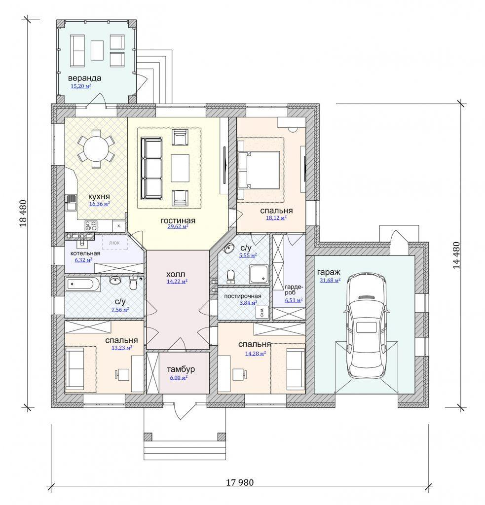 Проект одноэтажного красивого дома