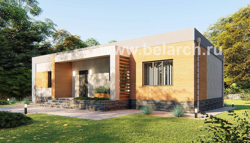 Проект современного дома с плоской крышей до 150 кв.м.