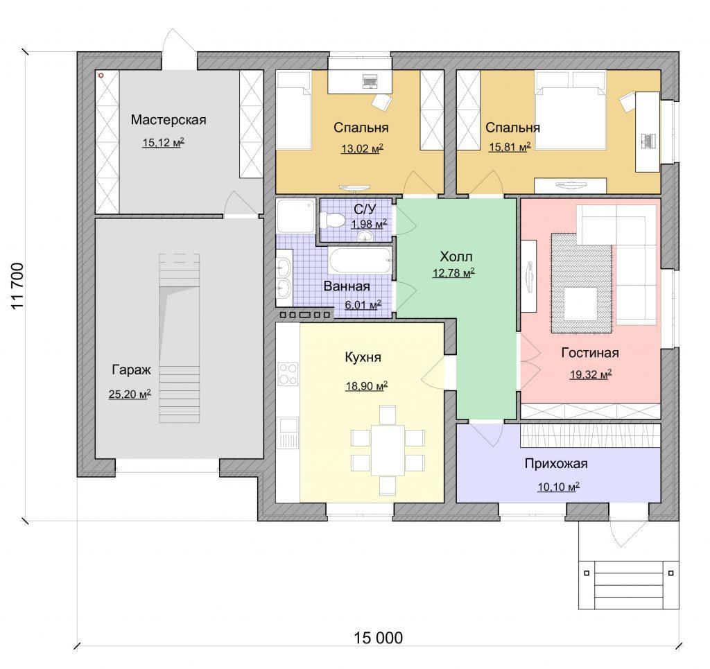 Проект простого одноэтажного дома с гаражом - план дома