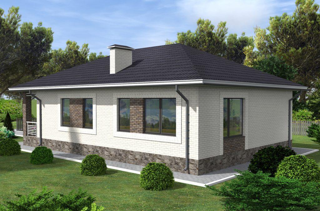 Проект дома до 120 м2 с гаражом и двумя спальнями - фасад