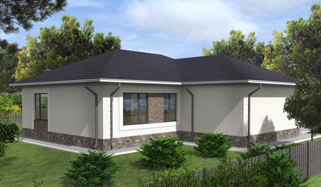 Проект дома до 120 м2 с гаражом и двумя спальнями