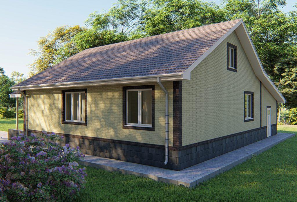 Проект простого одноэтажного дома с гаражом
