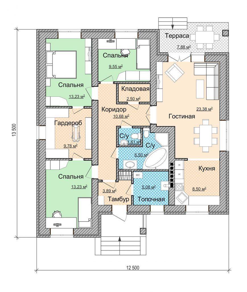 Проект дома 12 на 13 в один этаж без гаража