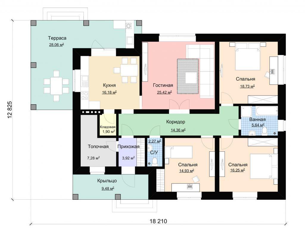 План одноэтажного удачного дома